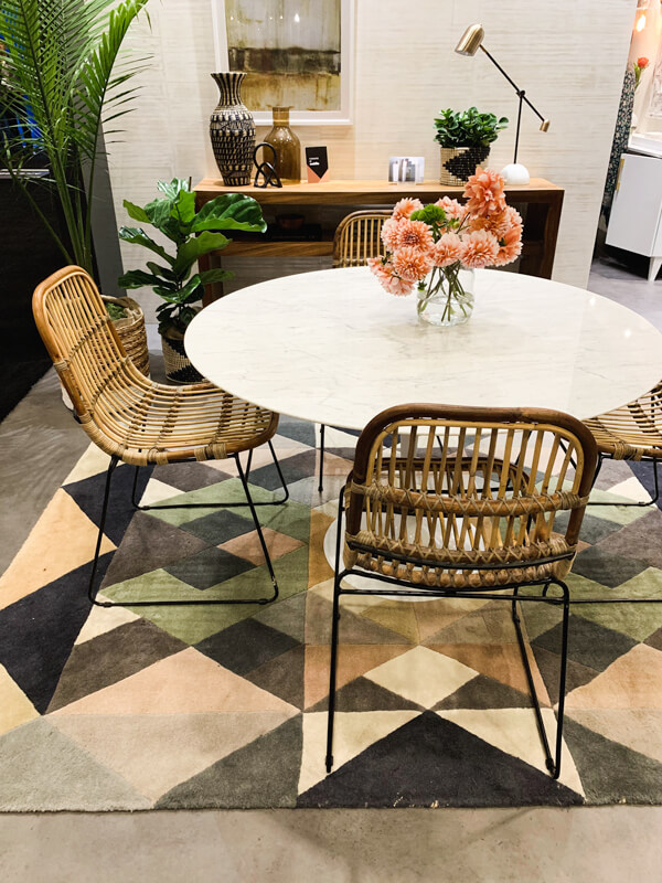 dining table with rattan chairs