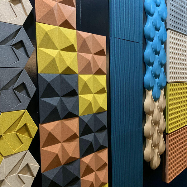 Muratto's three-dimensional cork wall panels in 70s colours