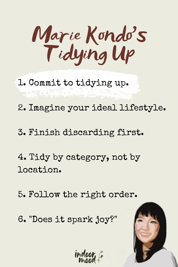 graphic with Marie Kondo's six rules of tidying up following the KonMari method.