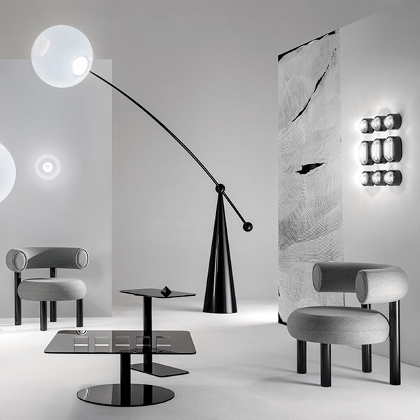 Tom Dixon living room with FAT lounge chairs and OPAL floor lamp