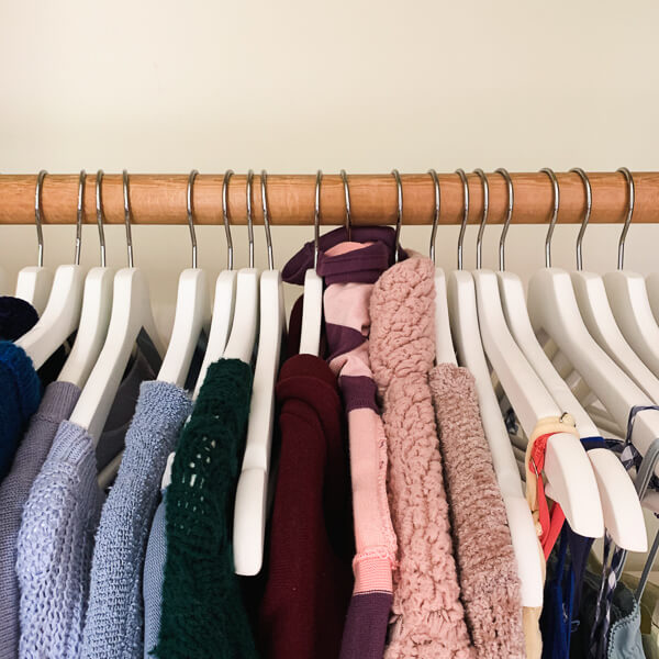 clothing handing in a closet