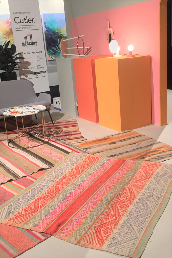 coral, grey, and gold at the Interior Designers Institute of BC's booth (by Cutler Design) at the Vancouver Interior Design Show in 2017