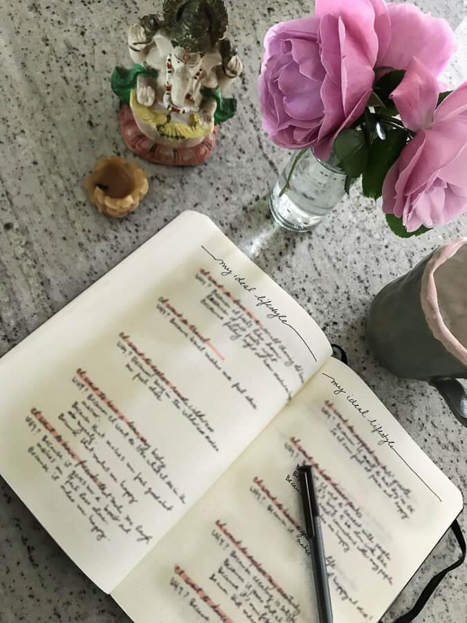 journal with KonMari ideal lifestyle brainstorm
