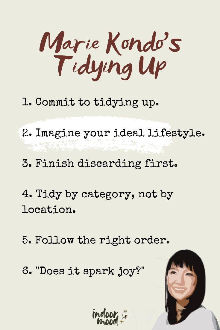 graphic with Marie Kondo's rules of tidying