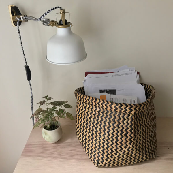 paper clutter in basket
