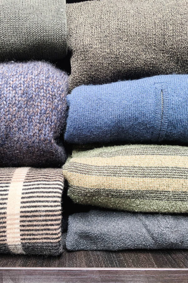 wool sweaters in drawer