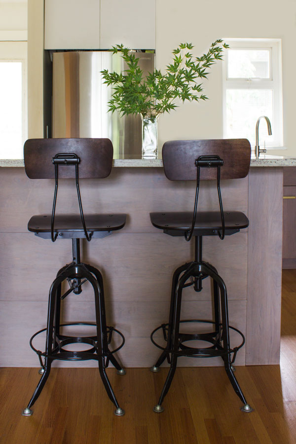 black kitchen counter stools in a kitchen